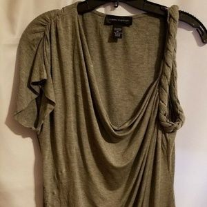 Womens Cable & Gauge Gray One Sleeve Blouse XL